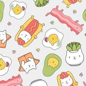 Cat hotdog, succulent,  avocado, egg , bacon. Kawaii yummy food design with funny pet animal.