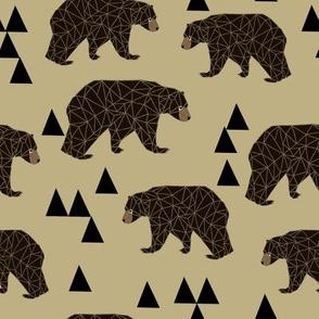 geometric bear // khaki woodland man trendy triangle bear design