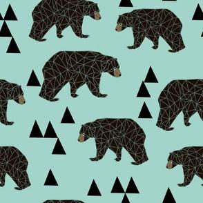 geometric bear // mint gender neutral cool scandi kids design featuring woodland bear and triangles