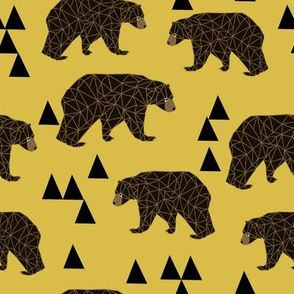 geometric bear // mustard trendy gender neutral camping woodland geo bear with triangles for cool hipster kids clothes