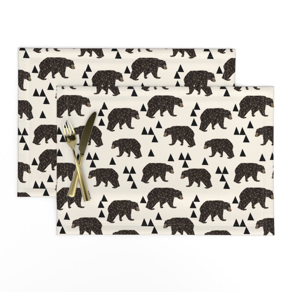 Lamona Cloth Placemats featuring geo bear fabric // cream geo trendy hipster bear woodland kids nursery baby design by andrea_lauren