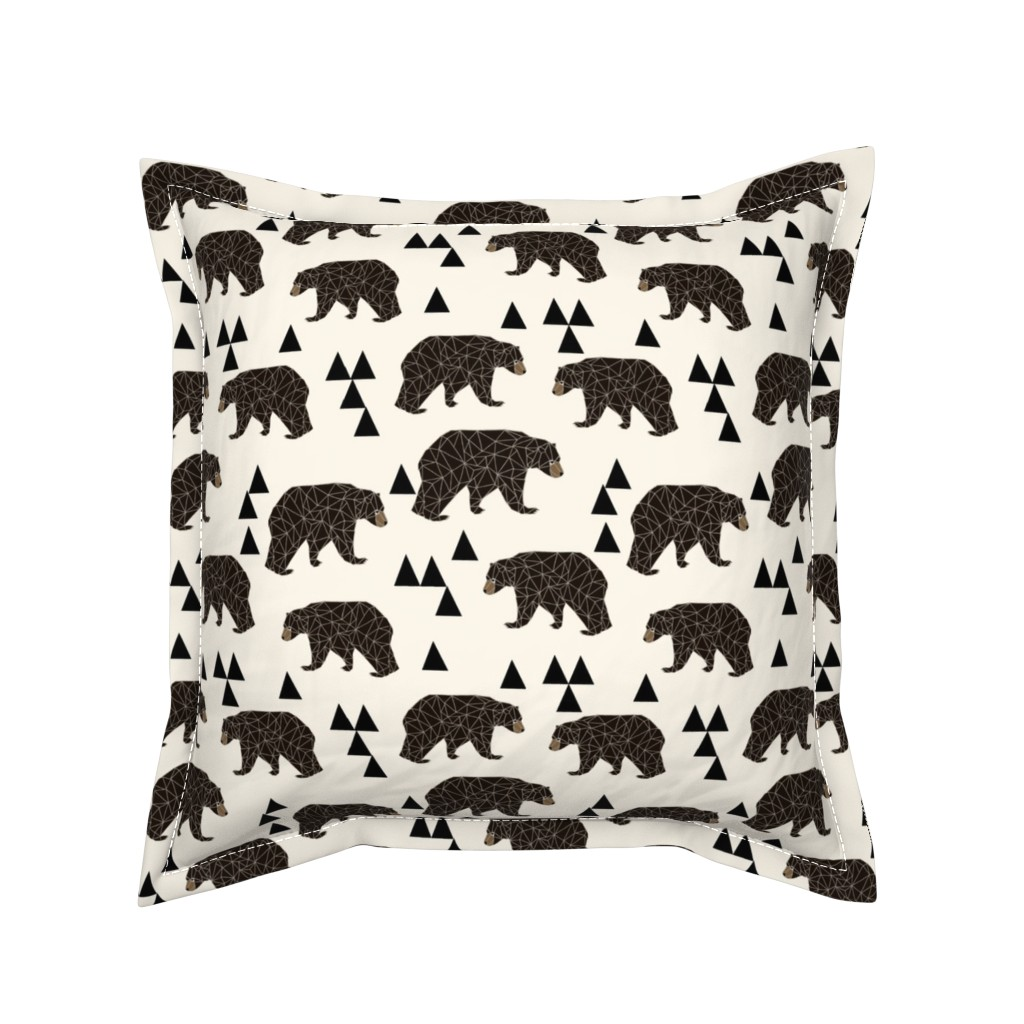 Serama Throw Pillow featuring geo bear fabric // cream geo trendy hipster bear woodland kids nursery baby design by andrea_lauren