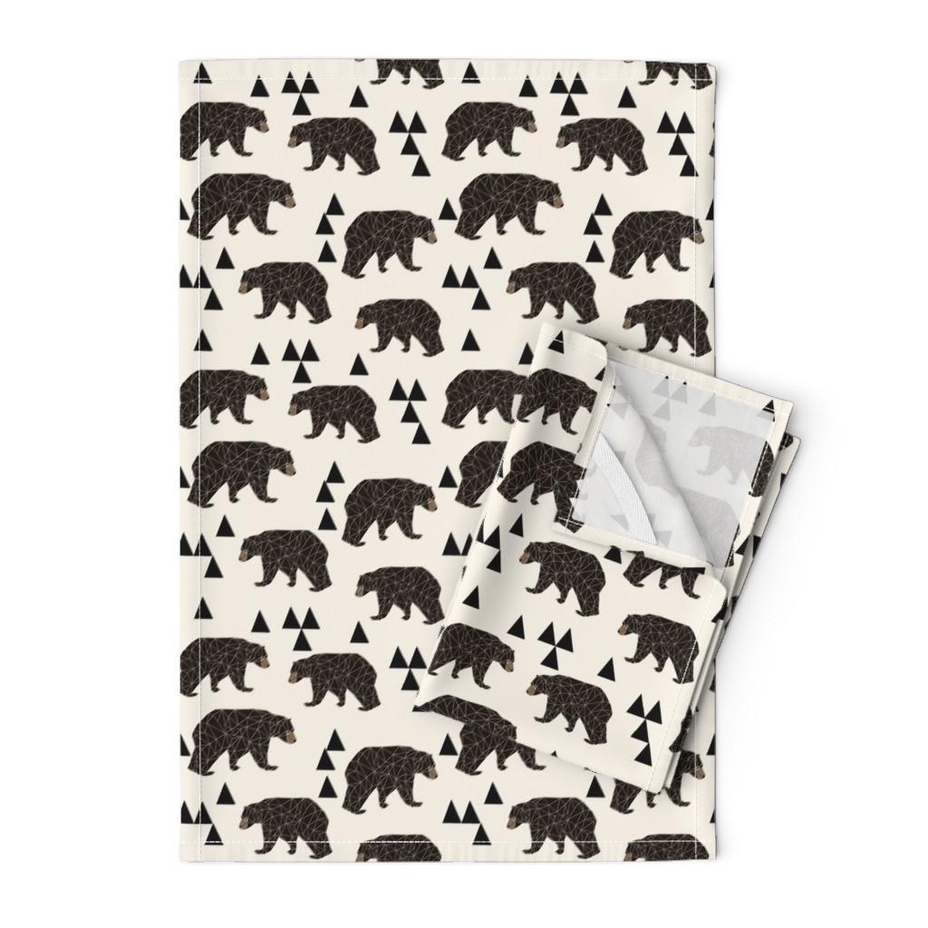 Orpington Tea Towels featuring geo bear fabric // cream geo trendy hipster bear woodland kids nursery baby design by andrea_lauren
