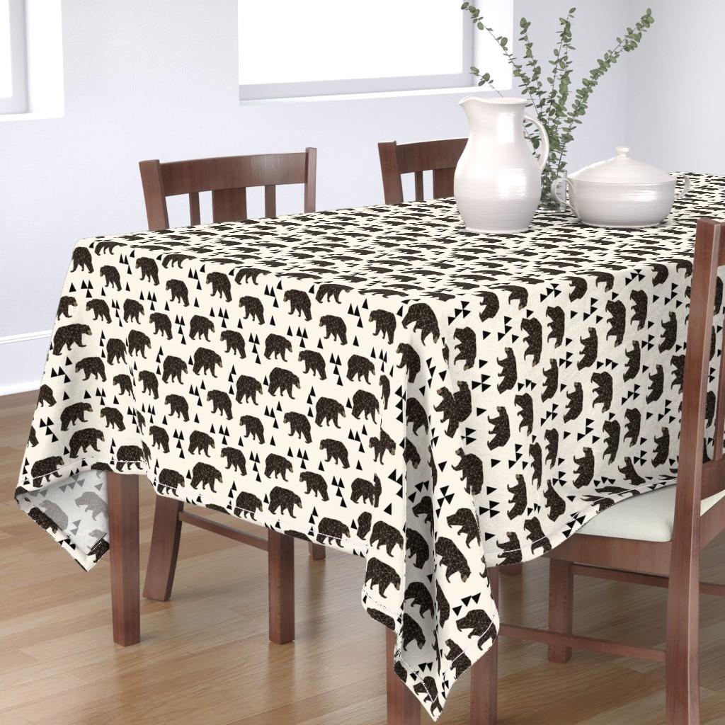 Bantam Rectangular Tablecloth featuring geo bear fabric // cream geo trendy hipster bear woodland kids nursery baby design by andrea_lauren