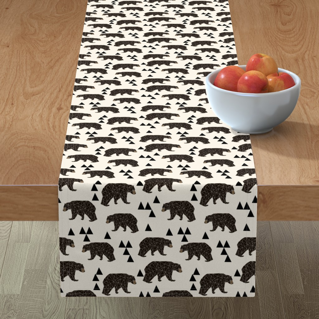 Minorca Table Runner featuring geo bear fabric // cream geo trendy hipster bear woodland kids nursery baby design by andrea_lauren