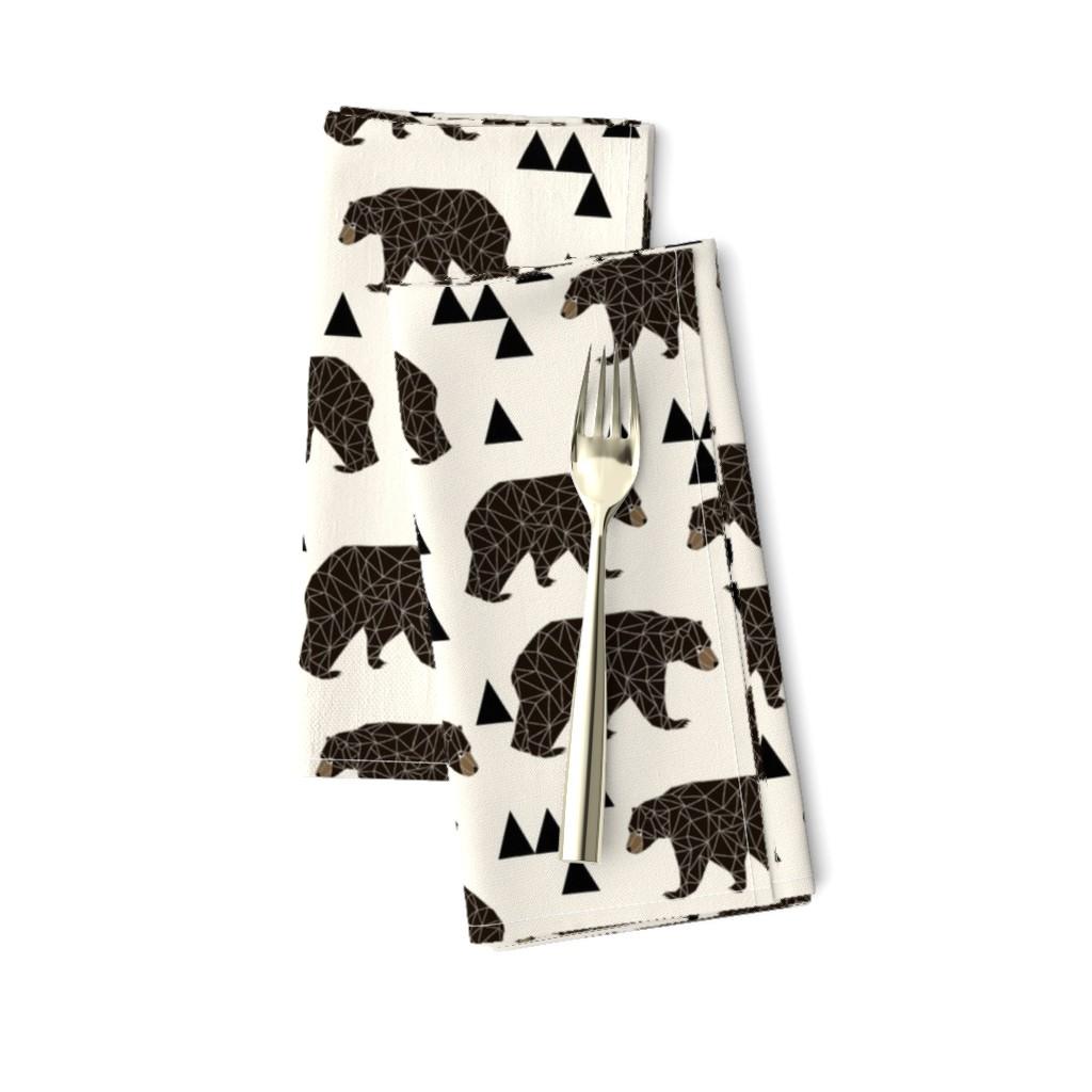 Amarela Dinner Napkins featuring geo bear fabric // cream geo trendy hipster bear woodland kids nursery baby design by andrea_lauren