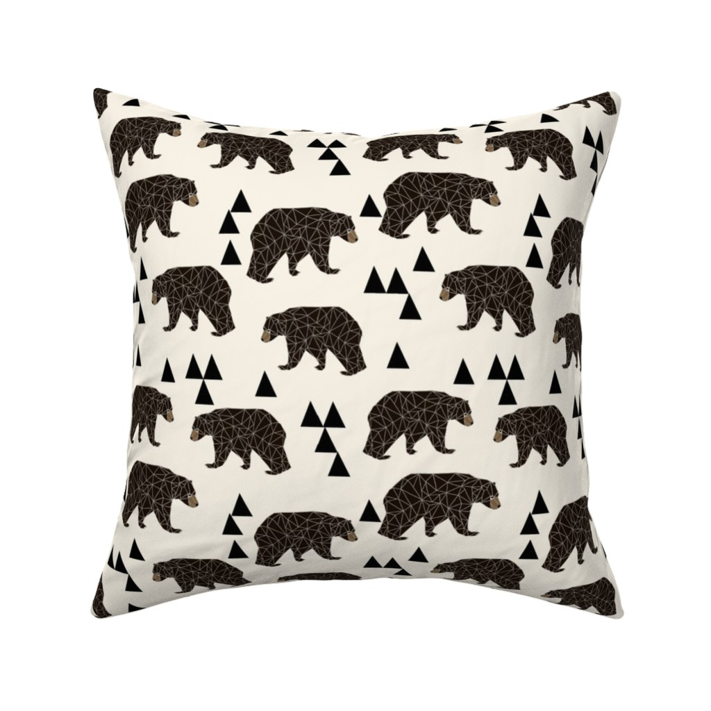 Catalan Throw Pillow featuring geo bear fabric // cream geo trendy hipster bear woodland kids nursery baby design by andrea_lauren