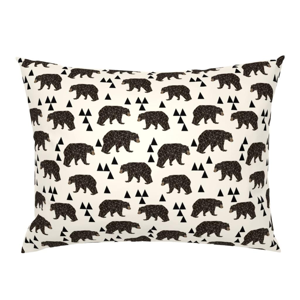 Campine Pillow Sham featuring geo bear fabric // cream geo trendy hipster bear woodland kids nursery baby design by andrea_lauren