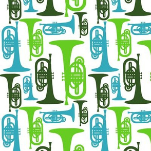 Mellophones - blue and green