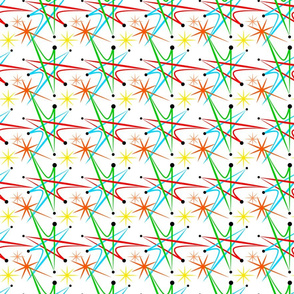 Atomic Starburst Multicolored on White