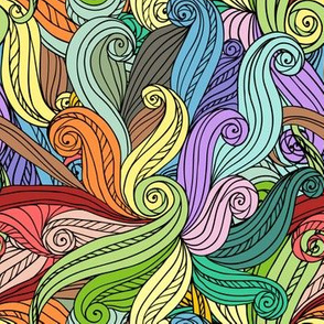 Colorful curls abstract pattern