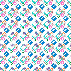 Geometric and Starbursts Multicolored on White