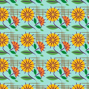 Mid Century Floral Kitsch on Aqua