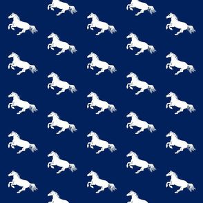 White Pony on Navy Diagonal