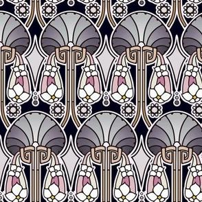 Art Deco abstract, pearl tones