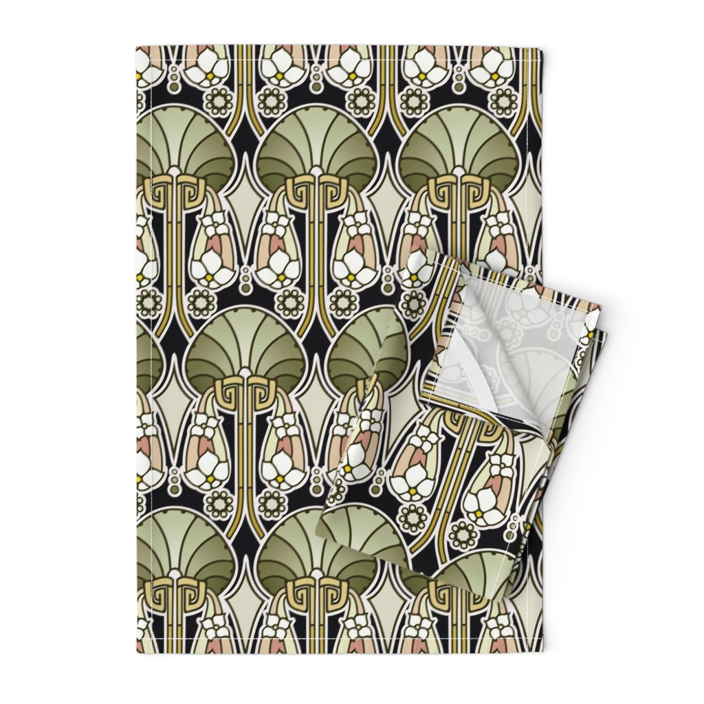 Orpington Tea Towels featuring Art Deco abstract, mellow green by hannafate