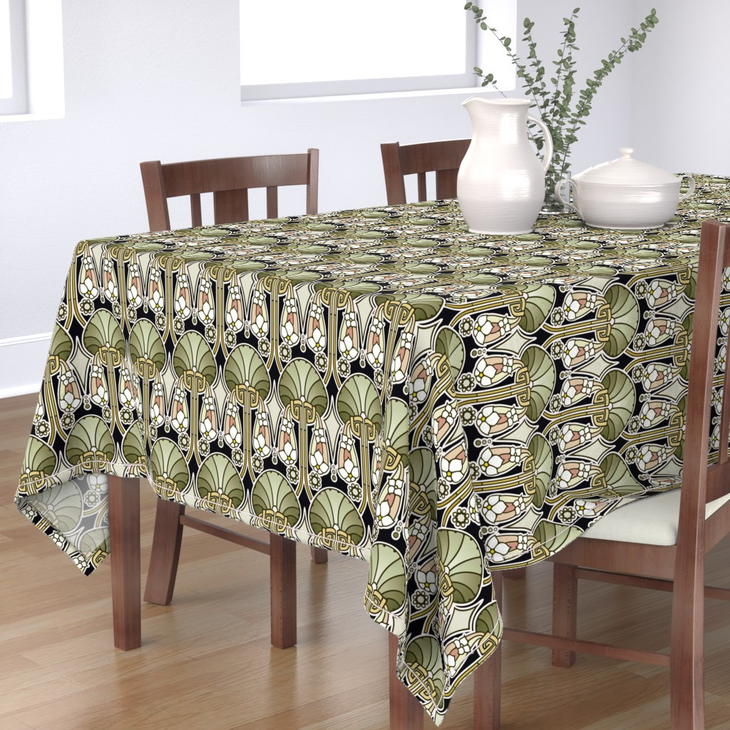 Bantam Rectangular Tablecloth featuring Art Deco abstract, mellow green by hannafate