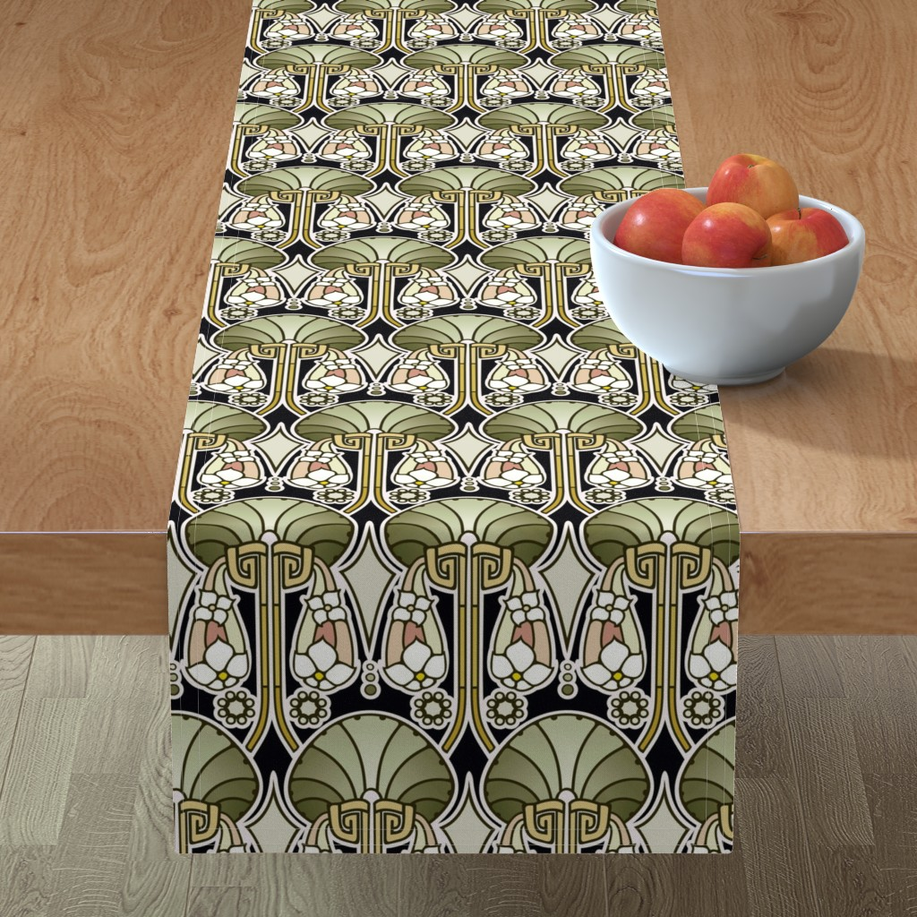Minorca Table Runner featuring Art Deco abstract, mellow green by hannafate