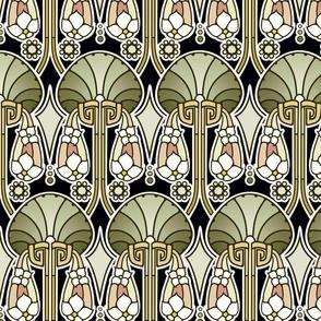 Art Deco abstract, mellow green