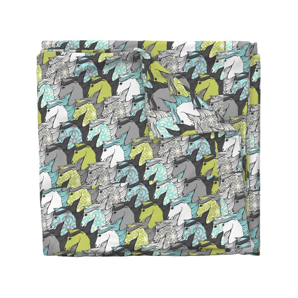 Wyandotte Duvet Cover featuring Wild Horses Tessellation by mytinystar