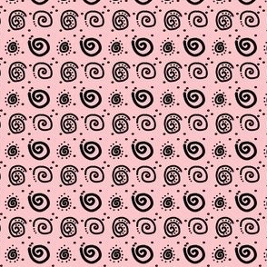 Black Swirls on Baby Pink
