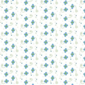 Polka Dot Petals-- Blue