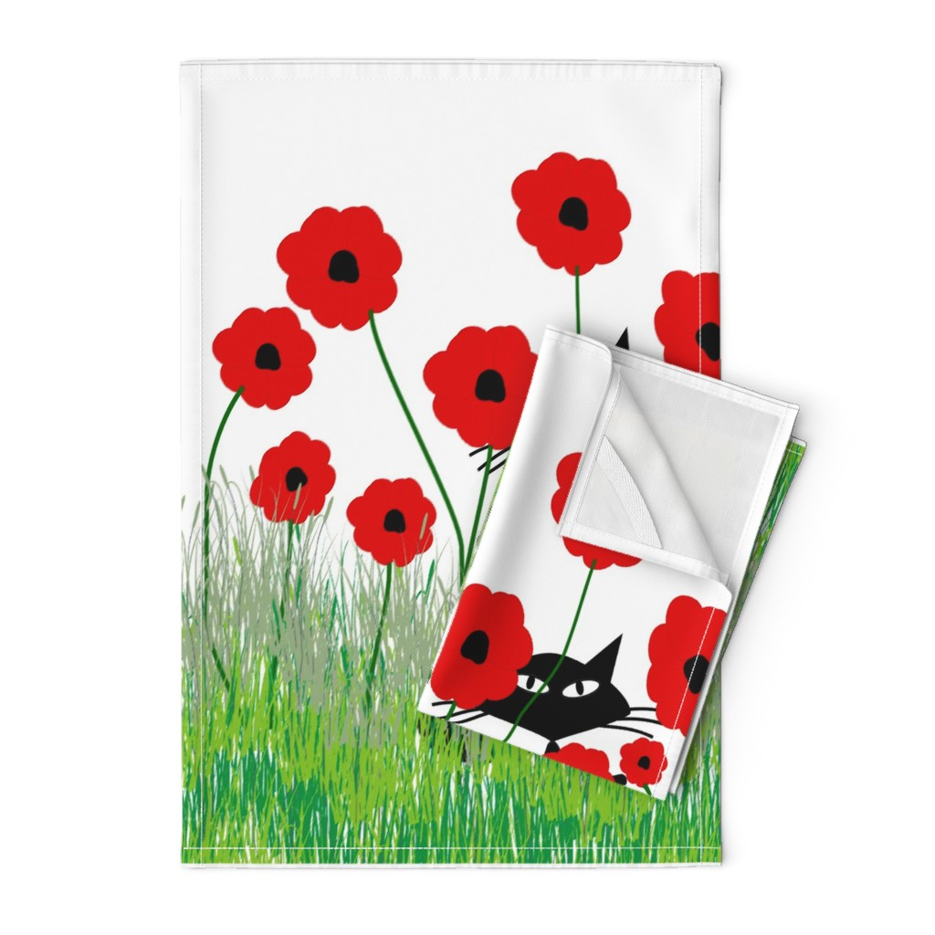 Orpington Tea Towels featuring Black Cat and Poppies by hot4tees_bg@yahoo_com