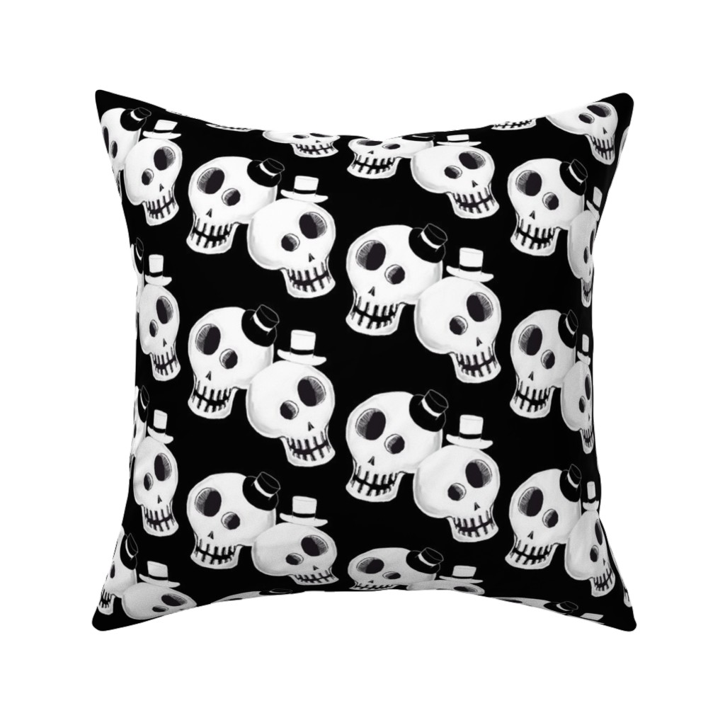 Catalan Throw Pillow featuring Two Dapper Skulls by amy_g