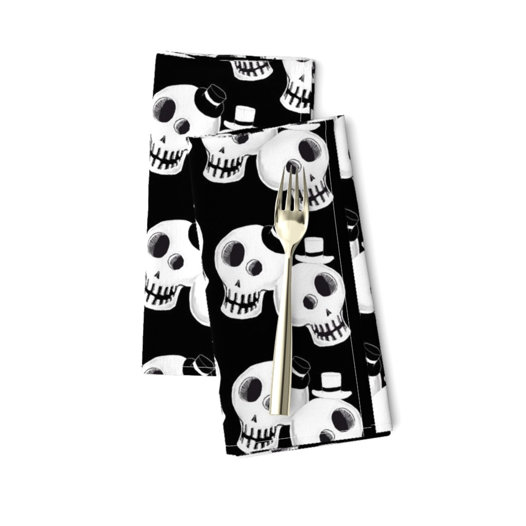 Amarela Dinner Napkins featuring Two Dapper Skulls by amy_g