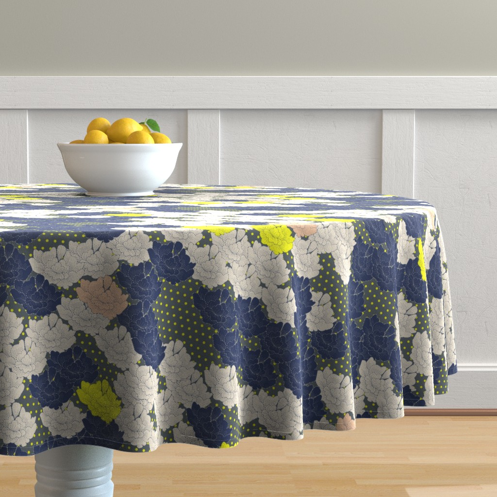 Malay Round Tablecloth featuring Stitch Flowers Yellow Polkas by candyjoyce