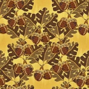 embroidered oak_and acorns golden oak
