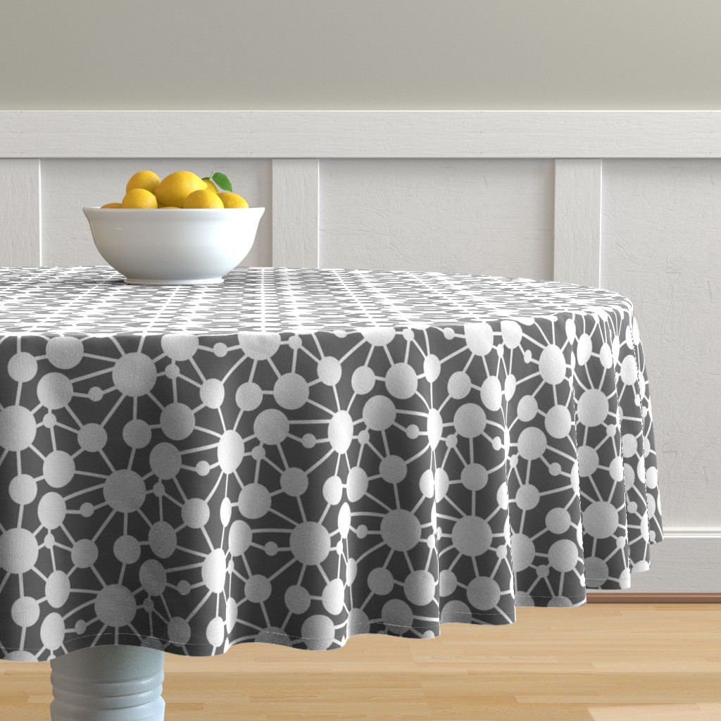Malay Round Tablecloth featuring Connected Circles by creativeinchi