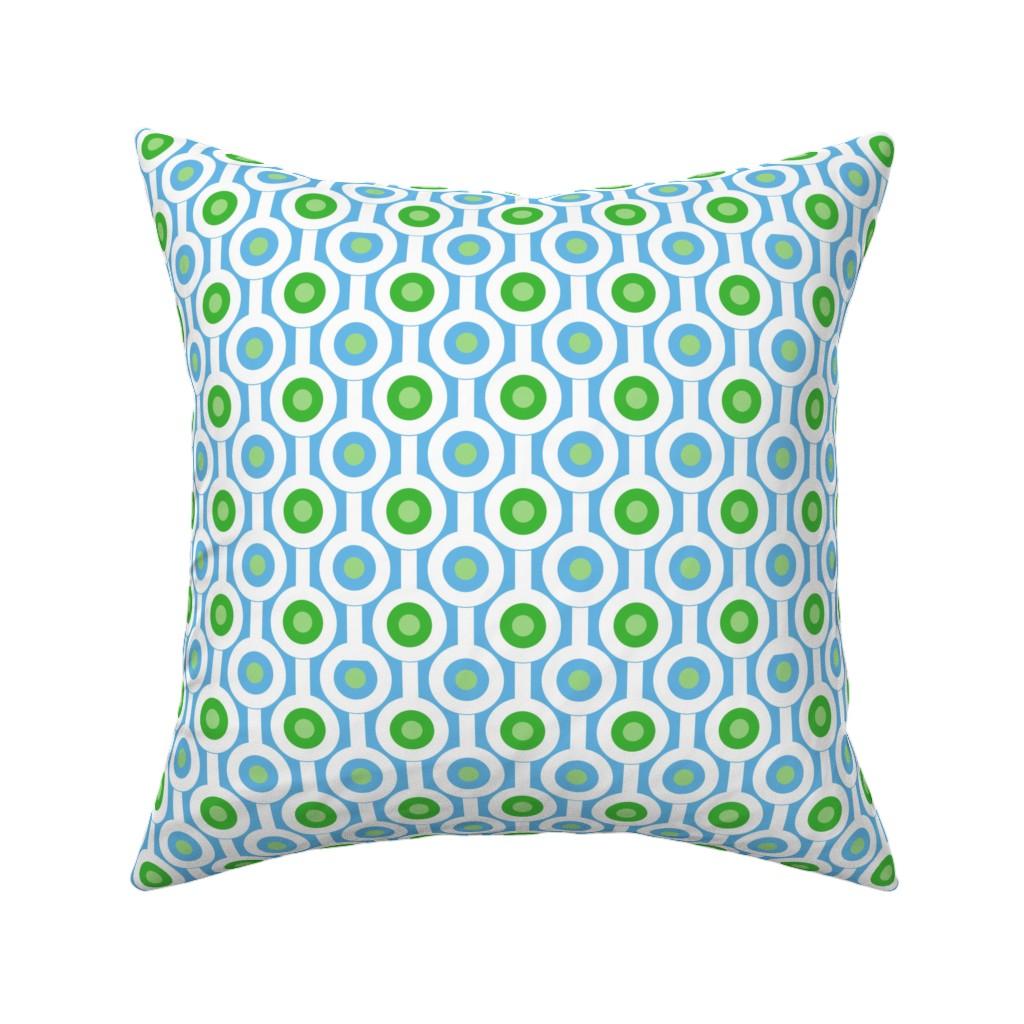 Catalan Throw Pillow featuring Geometric Green Circles by creativeinchi