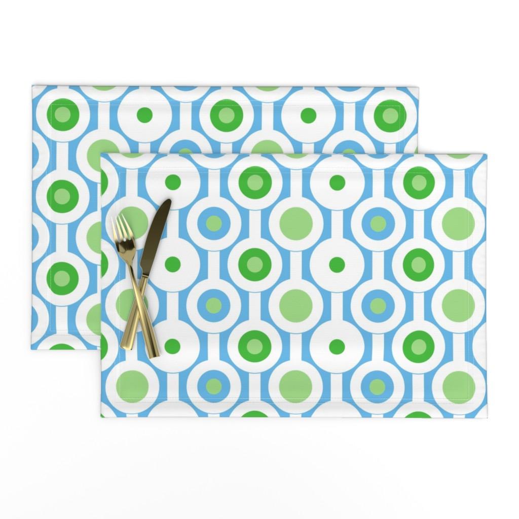 Lamona Cloth Placemats featuring Modern Green Circles by creativeinchi