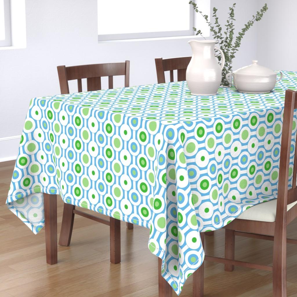 Bantam Rectangular Tablecloth featuring Modern Green Circles by creativeinchi