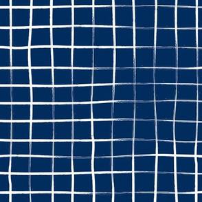 Indigo plaid, pool tiles pattern