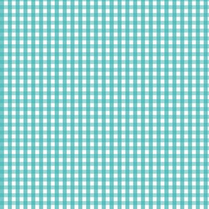tiny gingham teal