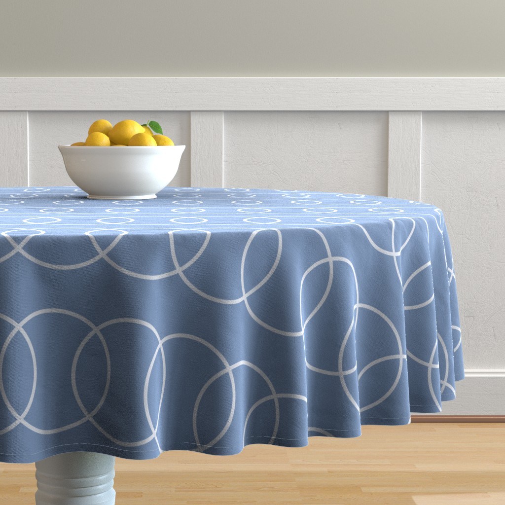Malay Round Tablecloth featuring Blue Bubble Abstract by creativeinchi