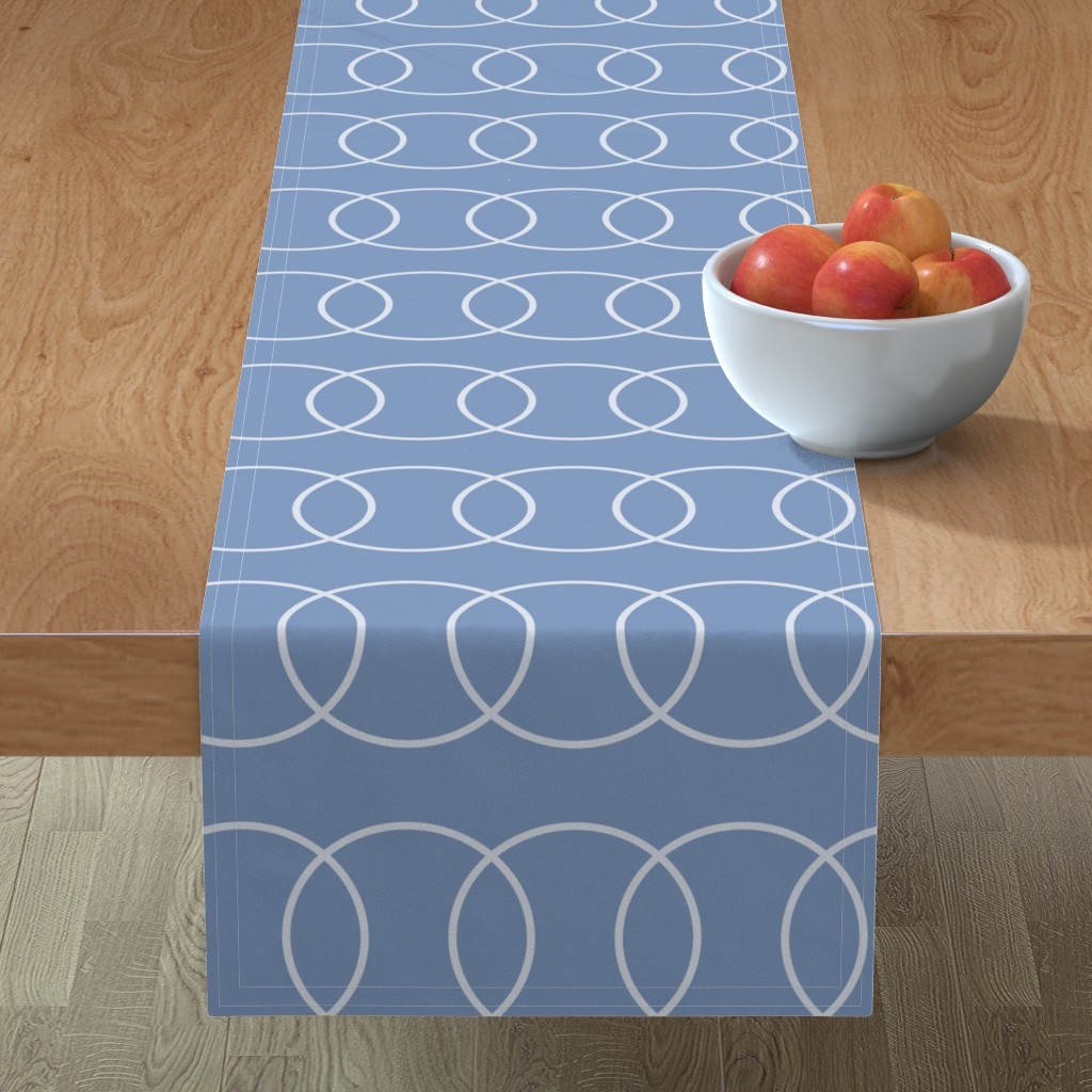 Minorca Table Runner featuring Blue Bubble Abstract by creativeinchi