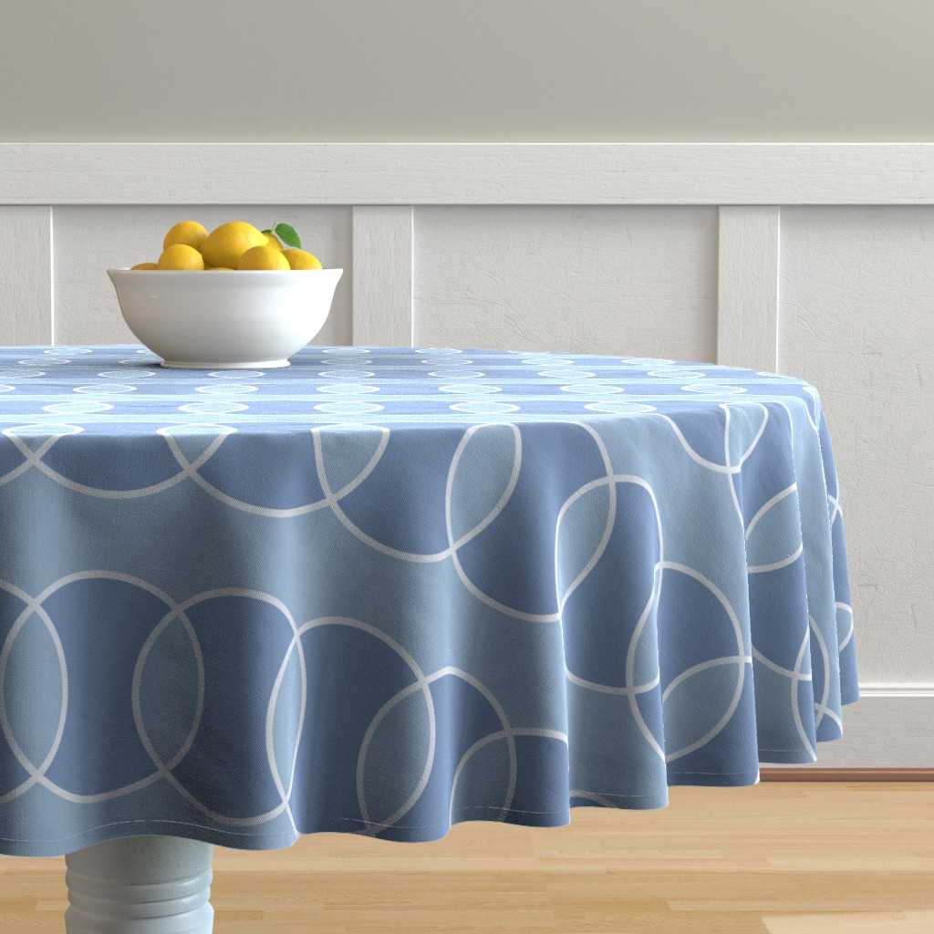 Malay Round Tablecloth featuring Blue Bubbly Abstract by creativeinchi