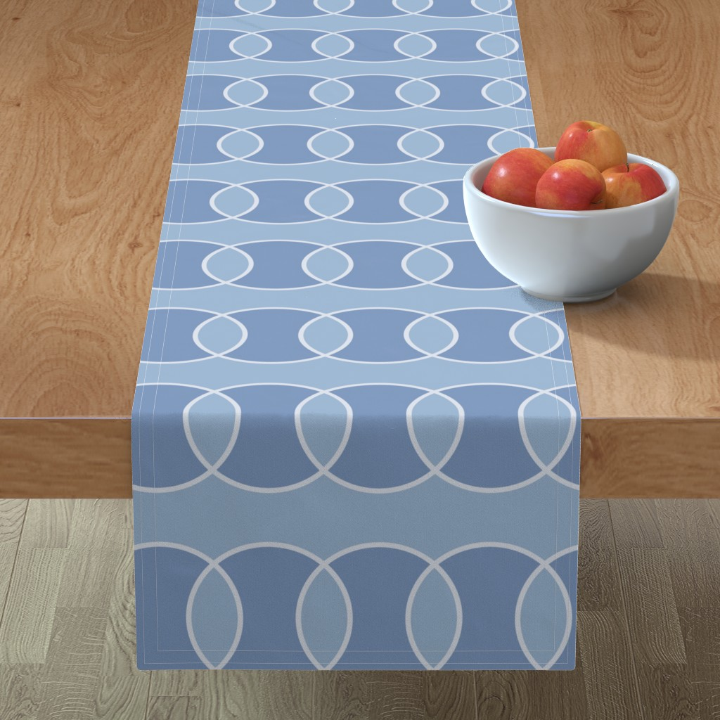 Minorca Table Runner featuring Blue Bubbly Abstract by creativeinchi