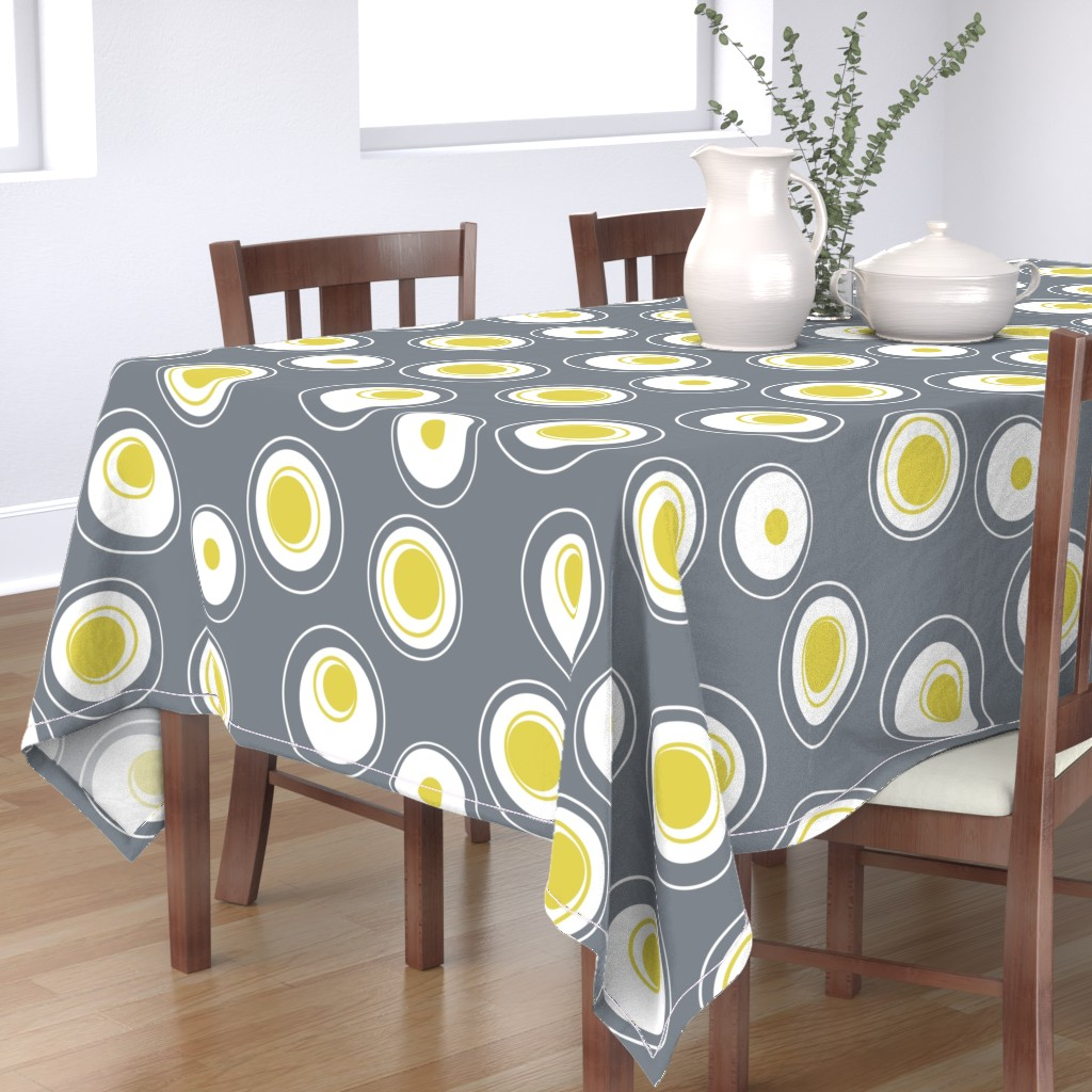 Bantam Rectangular Tablecloth featuring Contemporary Circles in white, grey and yellow by creativeinchi
