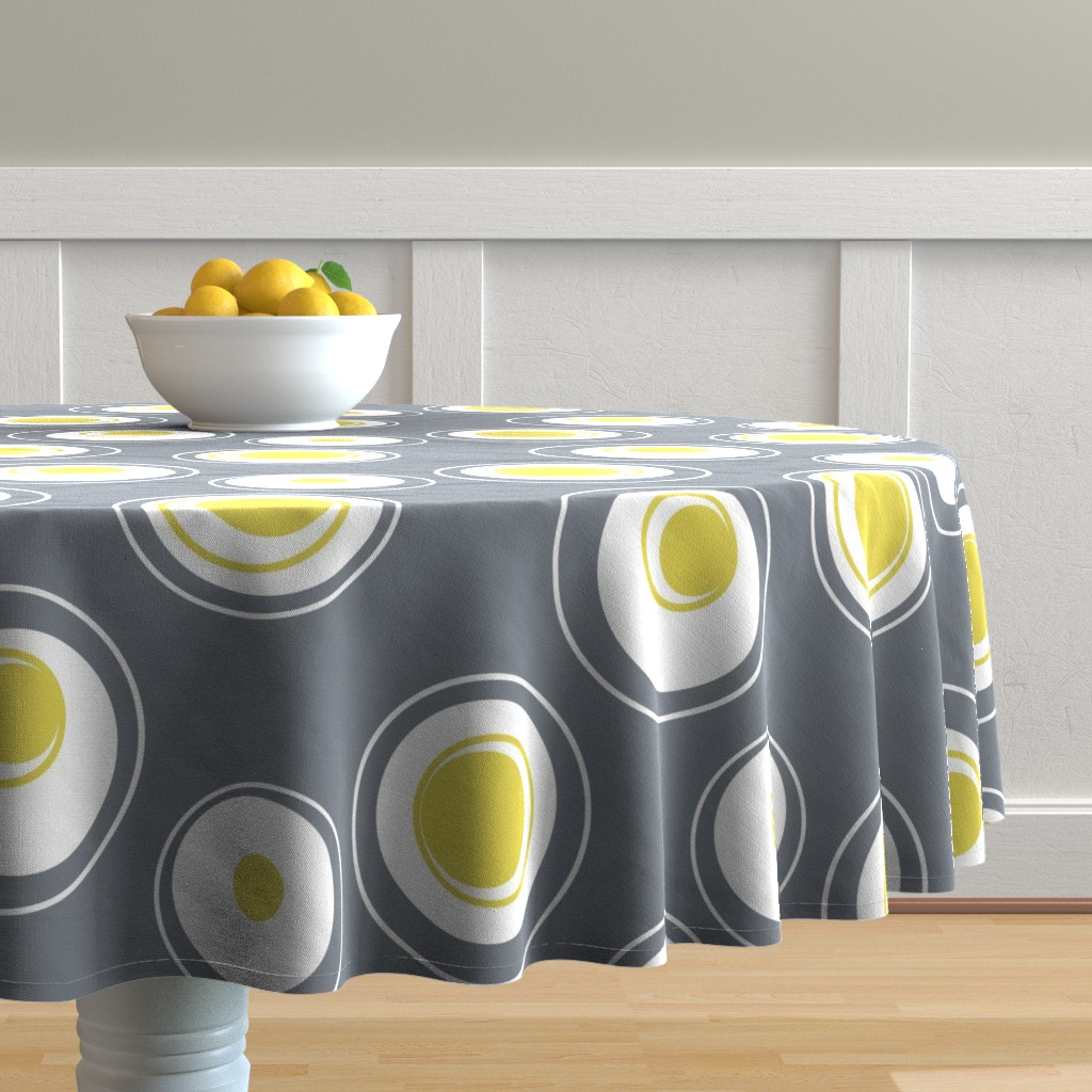 Malay Round Tablecloth featuring Contemporary Circles in white, grey and yellow by creativeinchi