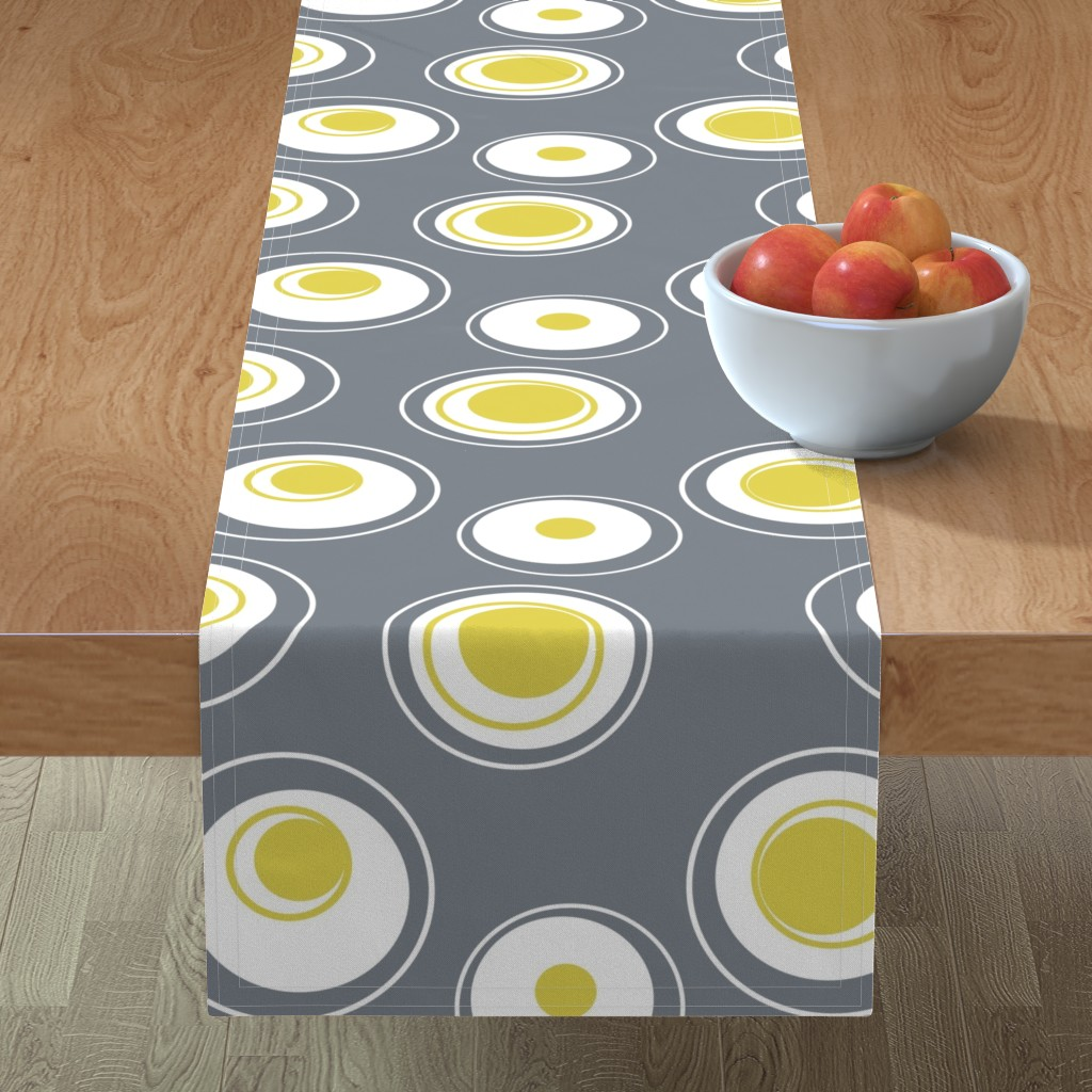 Minorca Table Runner featuring Contemporary Circles in white, grey and yellow by creativeinchi