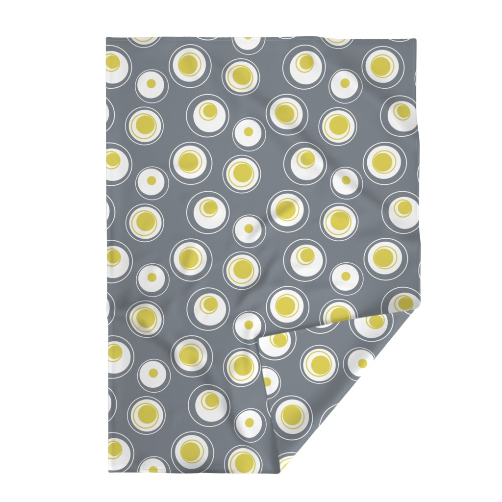 Lakenvelder Throw Blanket featuring Contemporary Circles in white, grey and yellow by creativeinchi