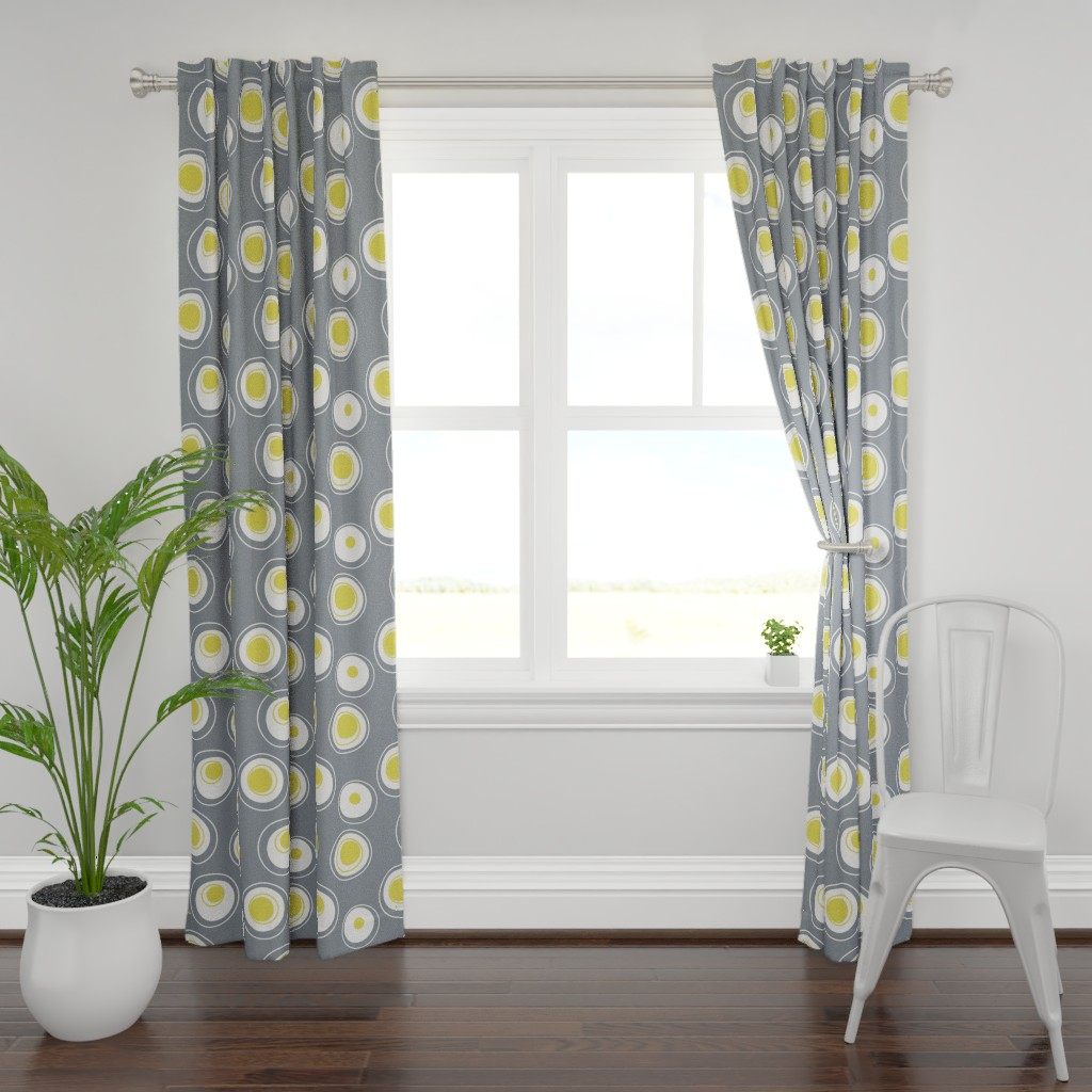 Plymouth Curtain Panel featuring Contemporary Circles in white, grey and yellow by creativeinchi