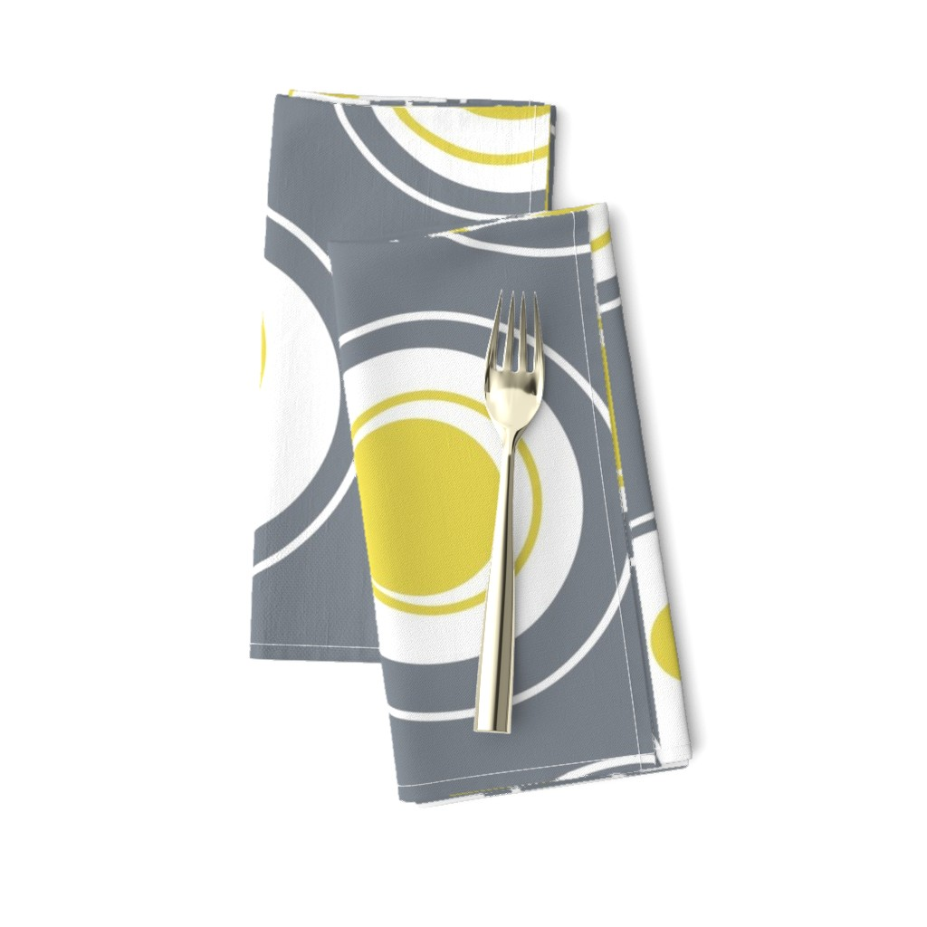 Amarela Dinner Napkins featuring Contemporary Circles in white, grey and yellow by creativeinchi
