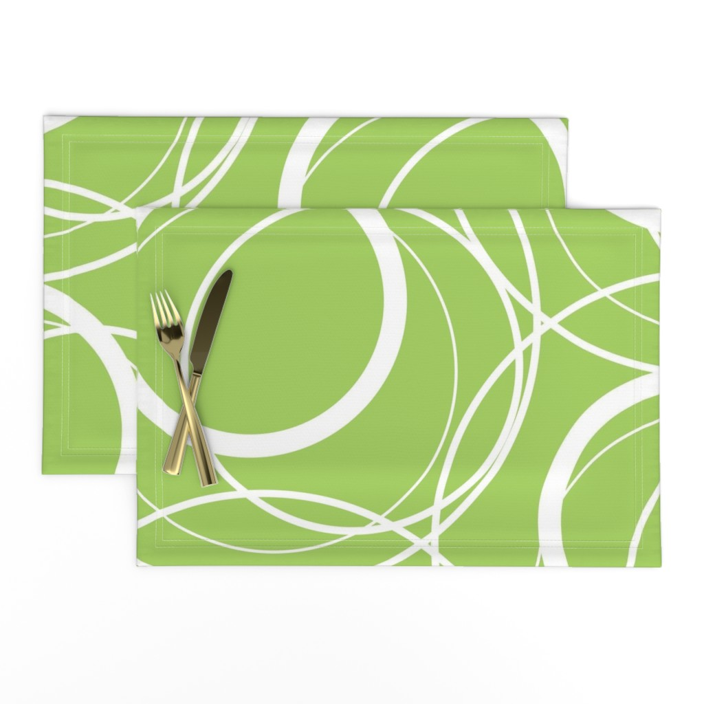 Lamona Cloth Placemats featuring Swirly Whirly Random Circles -green by creativeinchi