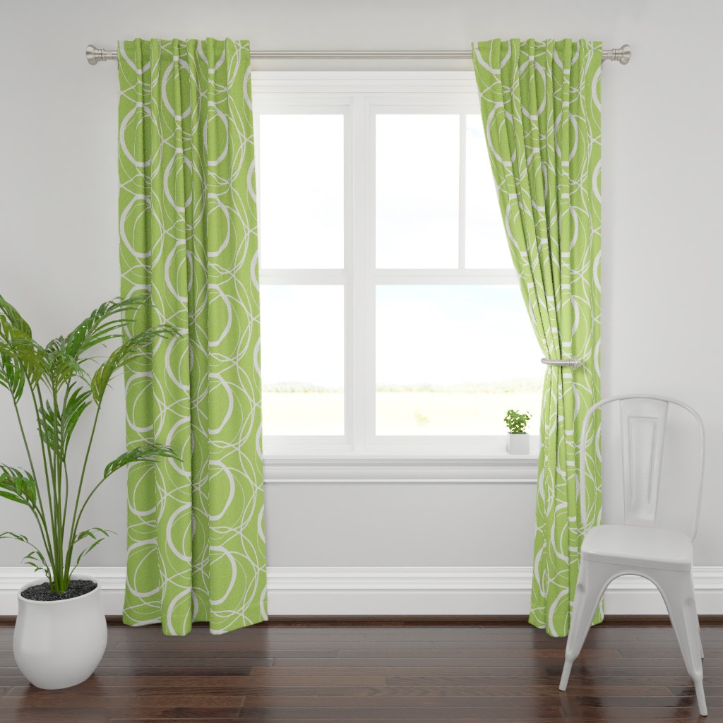 Plymouth Curtain Panel featuring Swirly Whirly Random Circles -green by creativeinchi