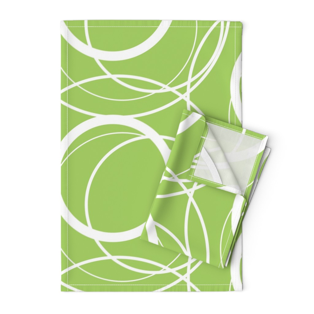 Orpington Tea Towels featuring Swirly Whirly Random Circles -green by creativeinchi